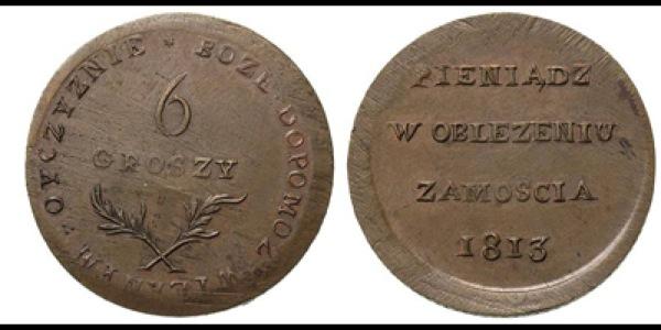 Pieniądz emitowany w oblężonym Zamościu w 1813 roku.